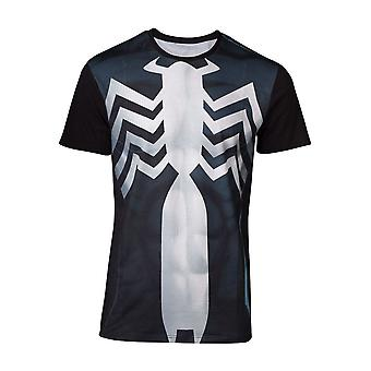 Marvel Comics Spider-man Mens Venom Suit Sublimation T-Shirt Medium Multicolour