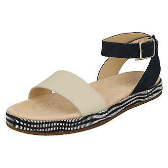 Damer Clarks Peep Toe sandaler botaniske vedbend - Navy Combi læder - UK størrelse 4,5 D - EU størrelse 37,5 - US størrelse 7M