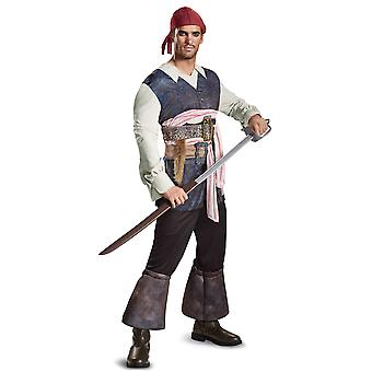 Potc5 Classic Captain Jack Sparrow Pirates of the Caribbean Mens Costume XL