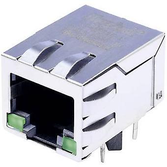 MagJack 10/100Base-TX 4 lähettimen LED-välilehti alas pistorasia, horisontaalisten mount 10/100Base-TX nastojen määrä: 8P8C nikkeli-pinnoitettu, metalli BEL Stewart liittimet