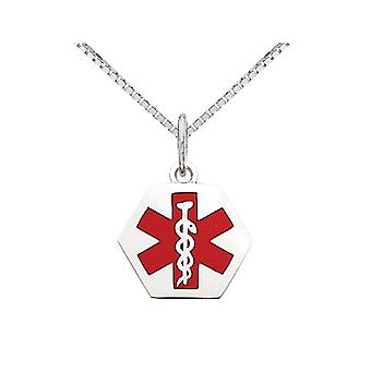 Medical Charm Pendant Necklace in 14K White Gold with Chain