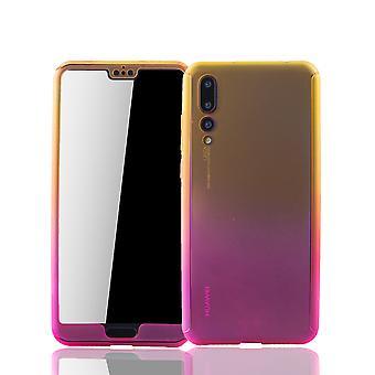 ファーウェイP20プロ電話ケース保護ケースフルカバータンク保護ガラスイエロー/ ピンク