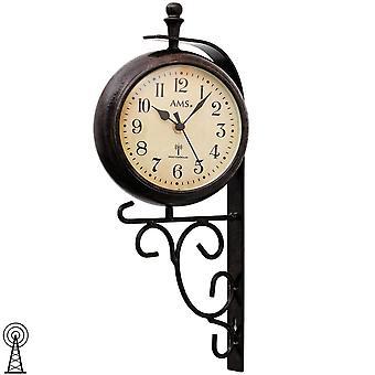 Wand Uhr Wanduhr Funk Mineralglas Metallgehäuse Anzeige der Temperatur/Uhrzeit