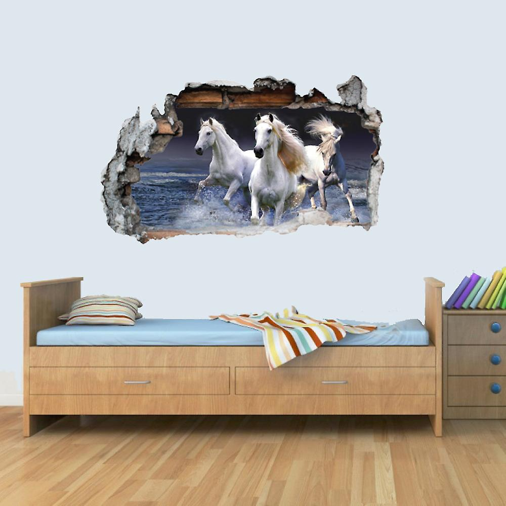 Vinyl Wall Smashed 3D Art Stickers of Illustrated HORSE Poster Bedroom Boys Girls