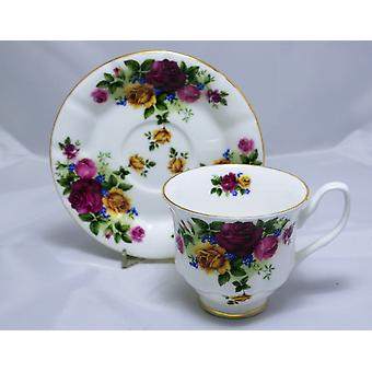 English Bone China Teacup & Saucer Cottage Roses