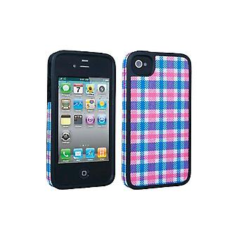 5 Pack -Speck Fitted Hard Case with Fabric for Apple iPhone 4 / 4S - Plaid Pink/Blue
