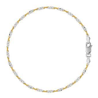 Witte en gele Singapore stijl keten Anklet In Sterling Zilver