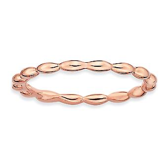 925 Sterling Silver Polished Patterned Stackable Expressions Pink plated Rice Bead Ring Jewelry Gifts for Women - Ring S