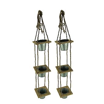 3 Tier Rustic Wood and Rope Hanging Metal Planters Set of 2