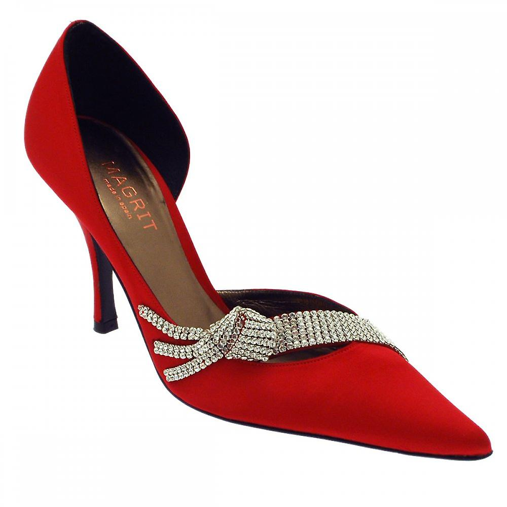 Magrit Red Satin Court Shoe Diamante Side Out xGOr9