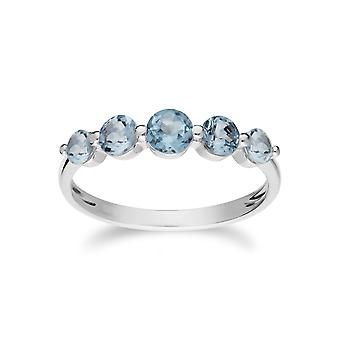 Essentielle Runde blau Topas fünf Stein Farbverlauf Ring in 925 Sterling Silber 270R055901925