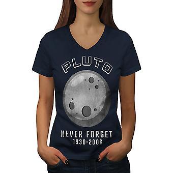 Pluto Astronomy Funny Women NavyV-Neck T-Shirt | Wellcoda