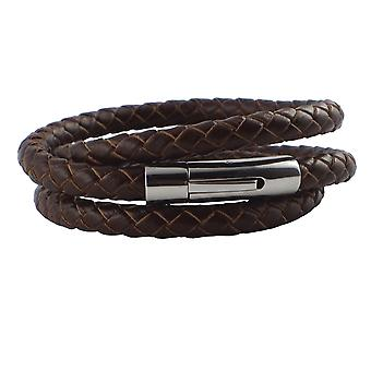 Leather necklace 6 mm mens necklace brown 55 cm long with closure leather braided