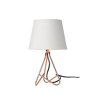 Lucide Gitta Modern Round Metal Copper And White Table Lamp