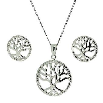 TOC Sterling Silver Tree Of Life Earrings & Pendant Necklace 18