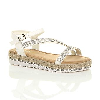 Ajvani womens low wedge platform diamante strappy sandals flatform espadrilles