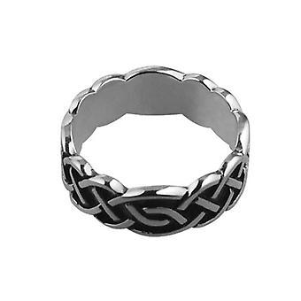 Silver oxidized 8mm Celtic Wedding Ring Size U