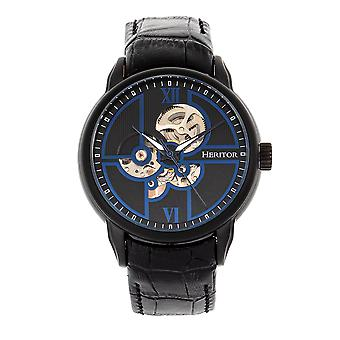 Heritor Automatic Sanford Semi-Skeleton Leather-Band Watch - Black