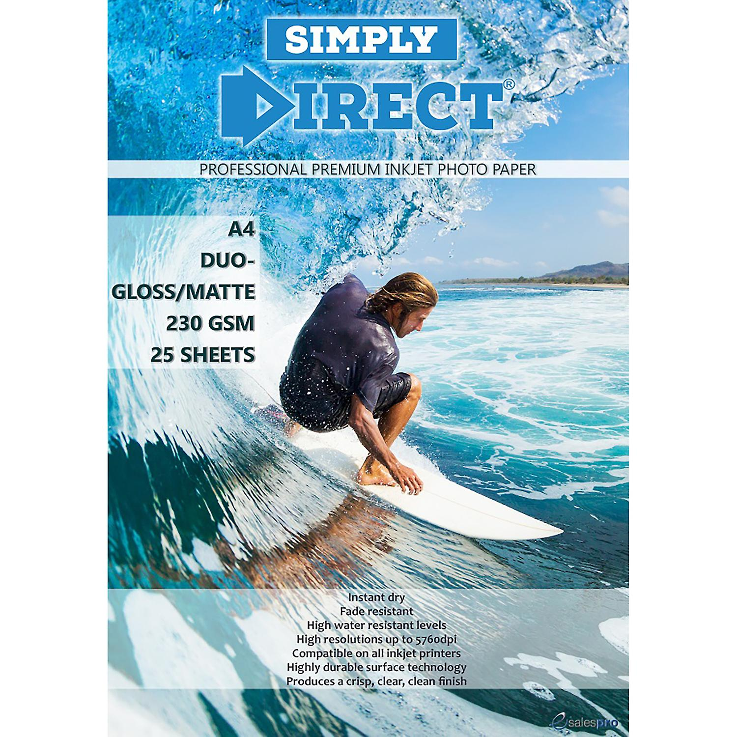 25 x Simply Direct A4 Duo Gloss / Matte Inkjet FSC Photo Printing Paper - 230gsm - Professional Premium Photographic Paper