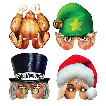 Christmas Bah Humbag Card Party Half Fancy Dress Mask Variety Pack of 4