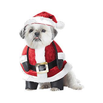 Pet Santa Paws Father Christmas Claus Dog Fancy Dress Costume