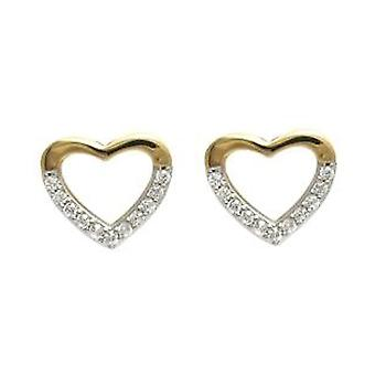 Ah! Jewellery Heart Outline Earrings Handset with Crystals From Swarovski