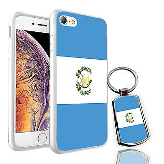 For Apple iPhone 7 - Guatemala Flag Design Printed White Case Skin Cover + Free Metal Keyring - 0069 by i-Tronixs