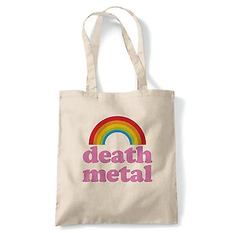 Death Metal Rainbow Funny Rock Music Tote - Reusable Shopping Canvas Bag Gift