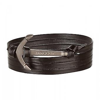 Holler Mosley negro arenado ancla/pulsera de cuero negro HLB-01BKS-L13