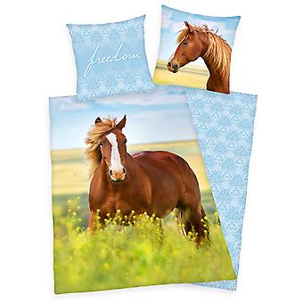 Freedom Horse Single Dekbed Cover en Pillowcase Set - Europese maat
