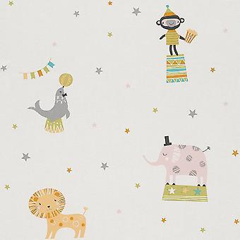 Rasch Circus Pattern Childrens Wallpaper Lion Elephant Monkey Cartoon Star 245011