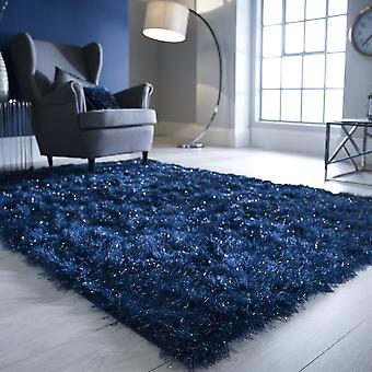 Dazzle Shaggy Rugs In Midnight Blue