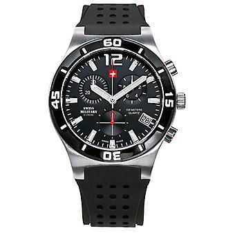 Swiss Military Quartz Analog Man Watch with SM34015.05 Rubber Bracelet
