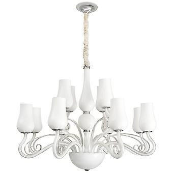 Glasberg - White Glass Twelve Light Chandelier 483010112