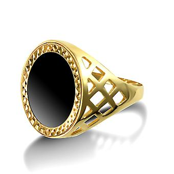 Jewelco London Men's Solid 9ct Yellow Gold Basket Design Ring with 16.5mm Black Onyx Disc Insert (Tenth-Krugerrand-Size)