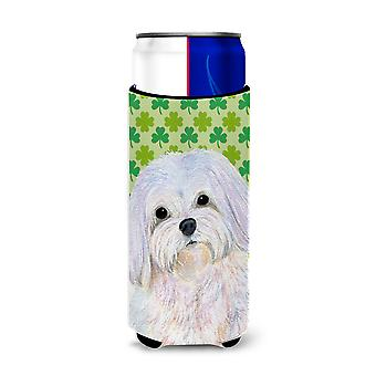 Maltese St. Patrick's Day Shamrock Portrait Ultra Beverage Insulators for slim c