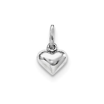 925 Sterling Silver Rh Plated for boys or girls Polished Heart Pendant - .4 Grams