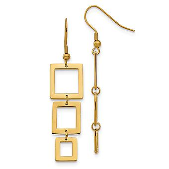 Stainless Steel Dangle Polished Shepherd hook Gold Color IP plated Rectangle Earrings Jewelry Gifts for Women