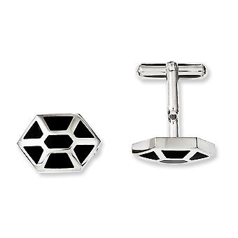 Stainless Steel Black Enamel and Polished Cuff Links Jewelry Gifts for Men