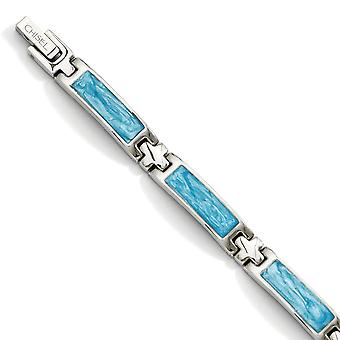 Stainless Steel Polished Fold over Blue Enamel 7.25inch Bracelet Jewelry Gifts for Women