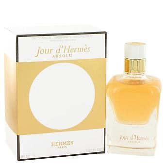 Jour d'hermes absolu eau de parfum spray القابلة لإعادة الملء بواسطة hermes 518215 85 ml