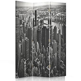 Room Divider, 3 Panels, Double-Sided, Rotatable 360, Canvas, Manhattan