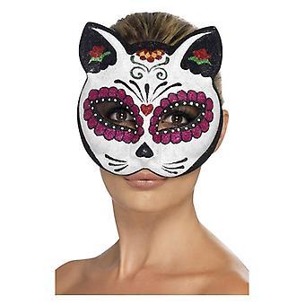 Womens Sugar Skull Cat Glitter Eyemask  Fancy Dress Accessory