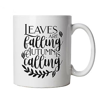 Leaves Are Falling Mug | Autumn Colours Falling Leaves On The Ground Fall | Halloween Fancy Dress Costume Trick Or Treat | Autumn Fall Cup Gift