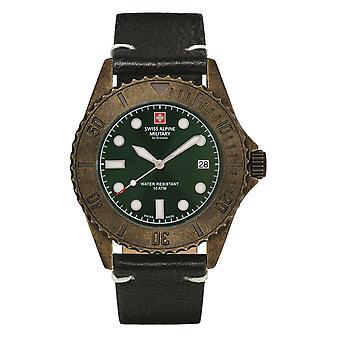 Reloj militar alpino suizo reloj analógico de cuarzo vintage 7051.1583SAM cuero