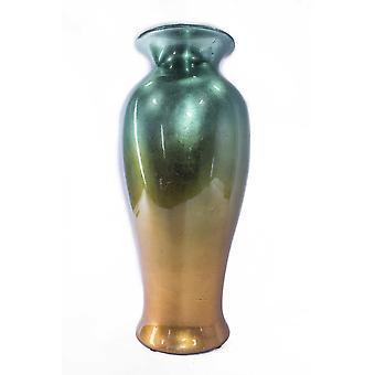 """12.75"""" x 12.75"""" x 30.75"""" Florero de cerámica lacado de cerámica ombre de cerámica turquesa y oro"""