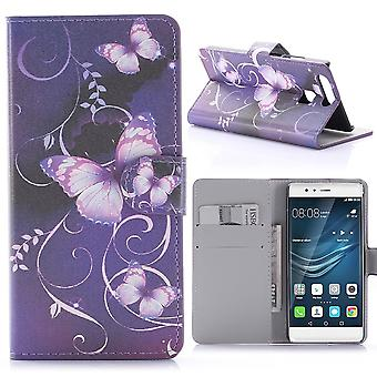 Fall für Huawei P9 Muster violett Schmetterlinge