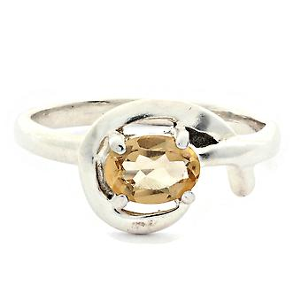 Ring 925 silver med Citrin 56 mm/x 17,8 mm (KLE-RI-004-61-(56))