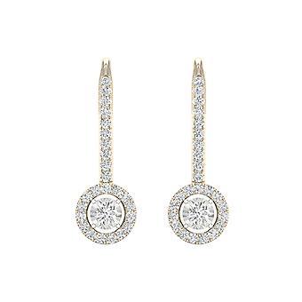 IGI-Certified-decouer-1/4-CT-TDW-Diamond-10k-Yellow-Gold-Diamond-frame-Drop-earrings-(h-i,-I2)