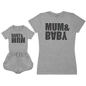 Mum & Baby Upside Down - Baby Jumpsuit & Mother's T-Shirt